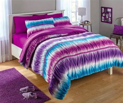 2pc teen girls reversible purple and blue tie dye ombre