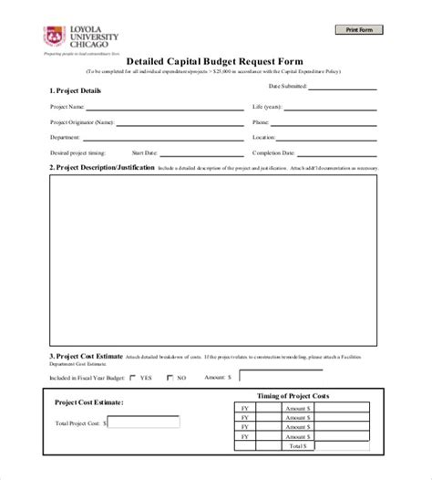 Capital Expenditure Budget Template Excel Capital Expenditure Form Template Budgeting Capital Expenditure Template