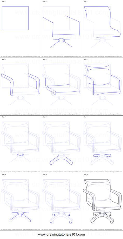 How To Draw A Desk Step By Step by How To Draw An Office Chair Printable Step By Step Drawing