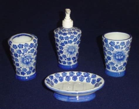 blue and white porcelain bathroom accessories sea island bathroom accessory set in blue and white