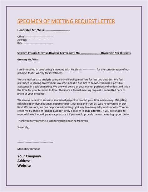 Business Letter Sle Request For Meeting business request letter template 28 images request