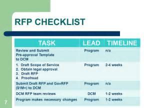 rfp timeline template dhhs procurement process reform ppt