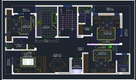 bhk apartment space planning autocad dwg plan  design