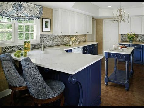 two tone blue and white kitchen cabinet ideas featuring