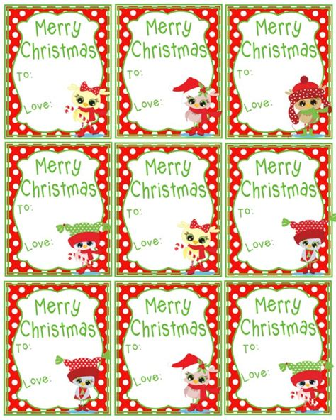 printable christmas gift tags merry christmas cute