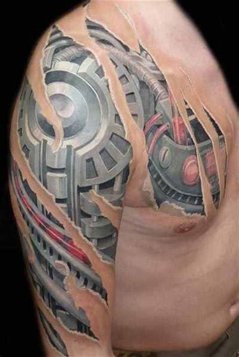 biomechanical chest tattoo designs chest and arm biomechanical design of