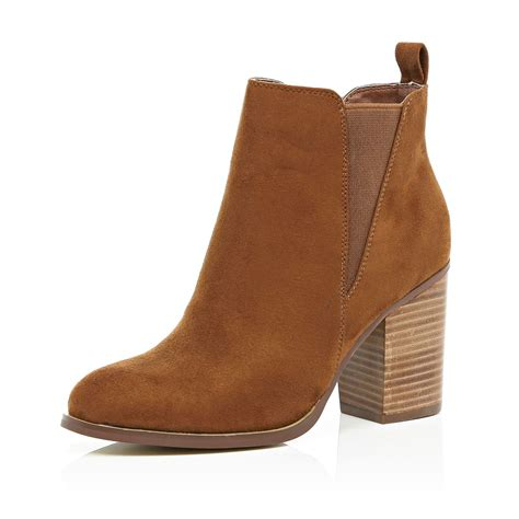 river island brown heeled chelsea boots in brown lyst