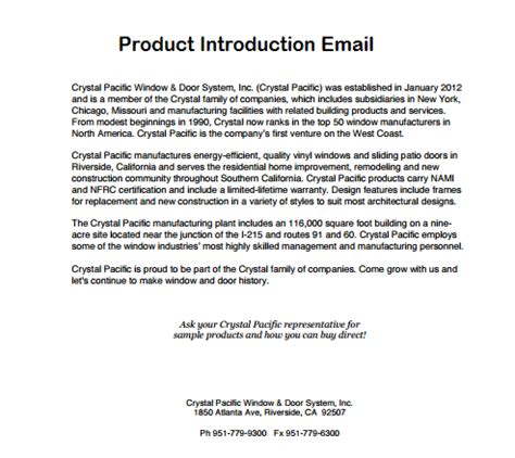 Introduction Letter By Email product launch email archives sle letter