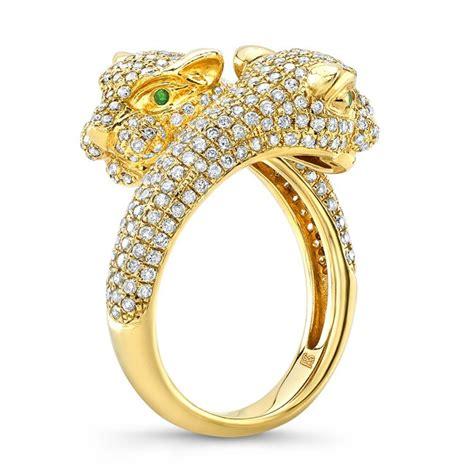 14k yellow gold emerald panther ring
