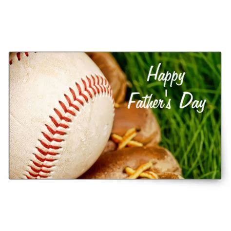 happy fathers day baseball baseball with glove happy s day rectangular sticker