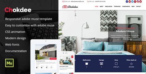 Chokdee Responsive Real Estate Muse Template By Maximustheme Themeforest Apartment Website Templates Free