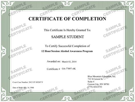 free completion certificate successful completion of course