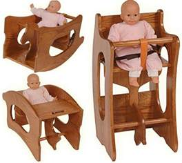 High Chair Desk Design Ideas Amish Childs 3 In 1 High Chair Rocking Childs Desk Oak Or Cherry Baby Furniture