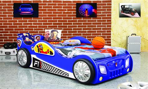 f1 autobett kinderbett bett schlafzimmer 90x190200cm autobett rennfahrer kinderzimmer bett blau f1 auto
