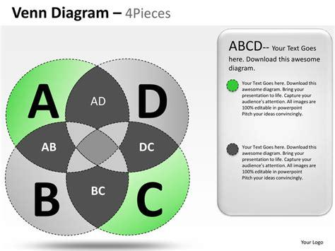 venn diagram 4 pieces powerpoint presentation templates