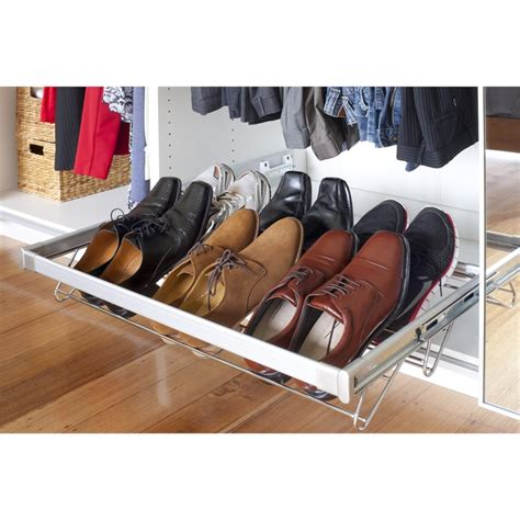 sliding shoe storage flatpax 900mm sliding shoe rack bunnings warehouse