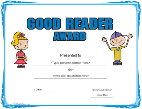 free templates for reading certificates education certificates good reader award certificate