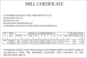 Material Certification Letter stainless steel mill cert stainless steel wire amp mesh