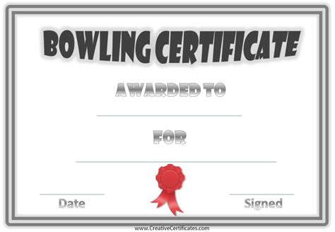 Bowling Certificate Template by Free Bowling Certificate Template