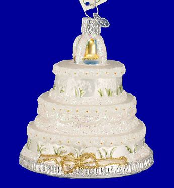 wedding cake glass ornament by old world christmas