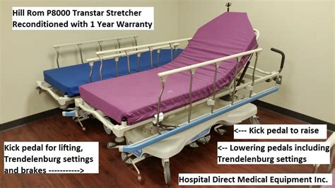 gurney bed hill rom p8000 transtar gurney stretcher hospital beds