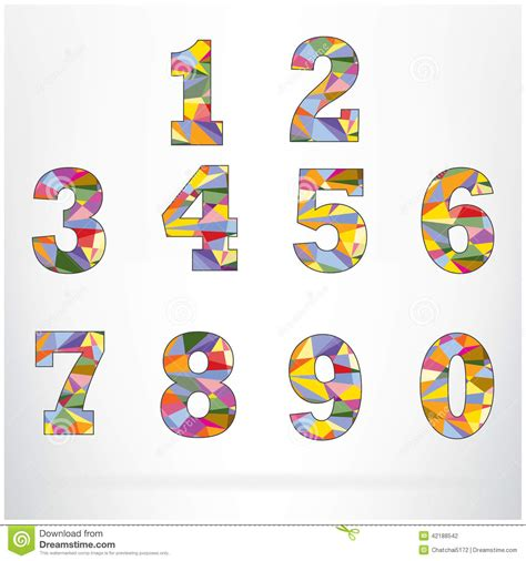polygon number alphabet colorful font style stock vector