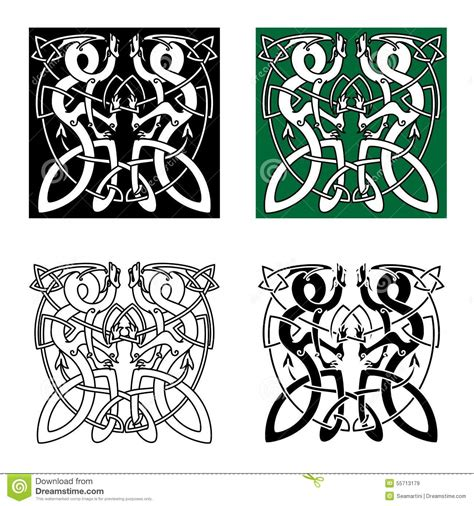 celtic twisted dragons in tribal style stock vector