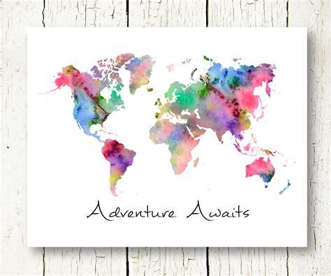 printable art world map world map watercolor download adventure awaits printable