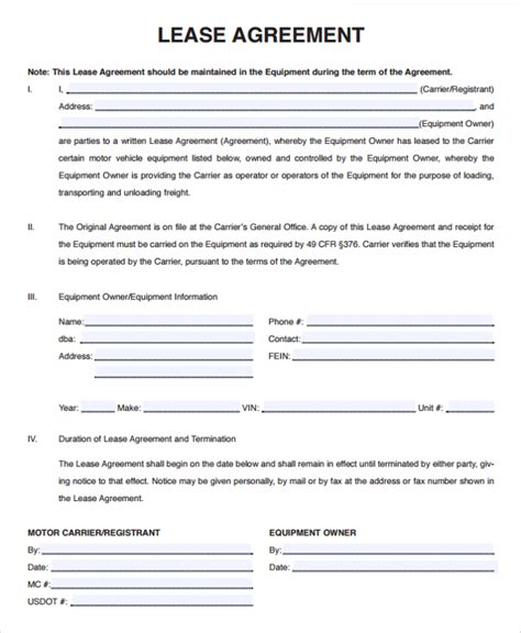 rental agreement lease template sle owner operator lease agreement 10 free documents