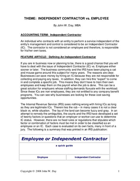 Verification Letter For Independent Contractor Independent Contractor Vs Employee