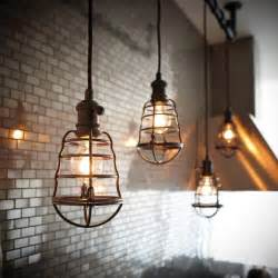 Industrial Light Fixtures For Kitchen Light Aged Bronze Cage Pendant Lightings Vintage Ls Id Lights