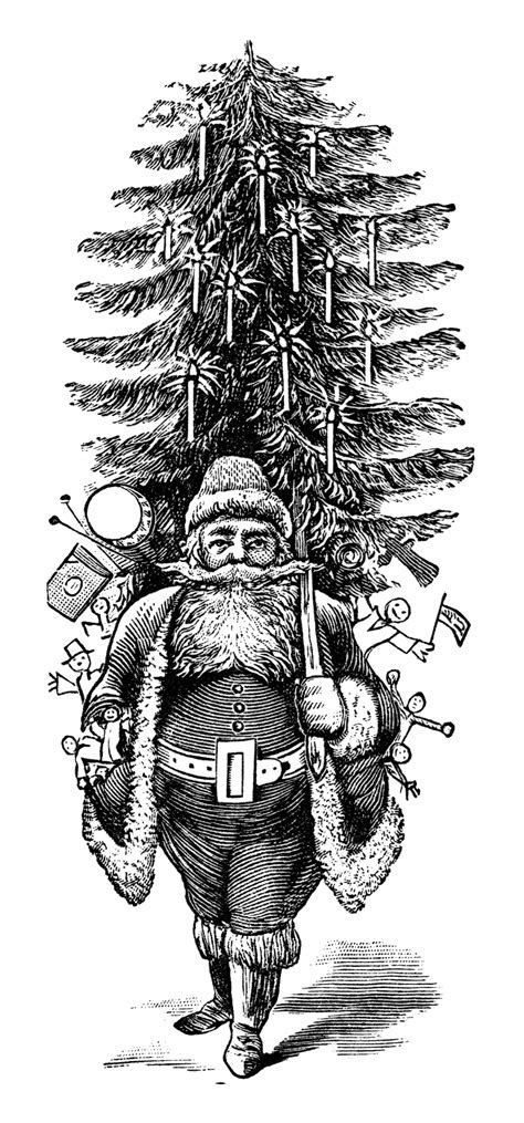 printable black and white christmas tree vintage santa clip art free download old design shop blog