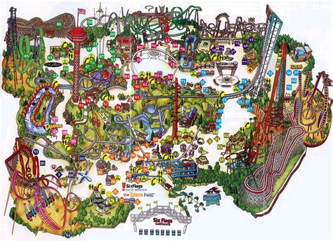 amusement parks california map theme park brochures six flags magic mountain theme park