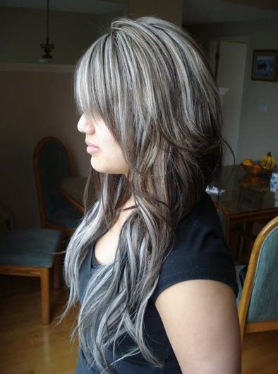 brown hair with platinum highlights brown hair with chunky platinum highlights black hair