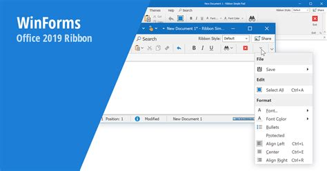 winforms ribbon office  inspired capabilities
