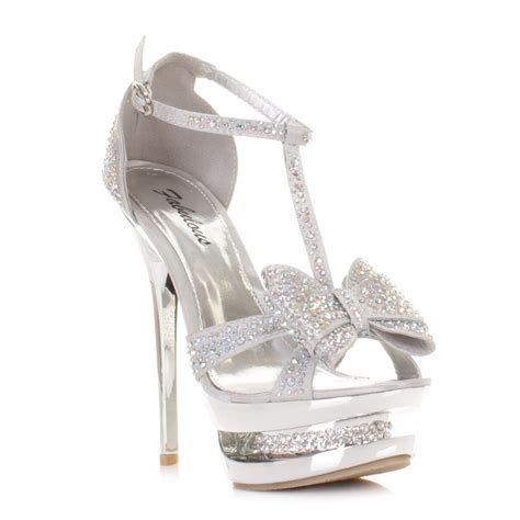 silver high heel prom shoes womens high heel platform stiletto diamante silver bow