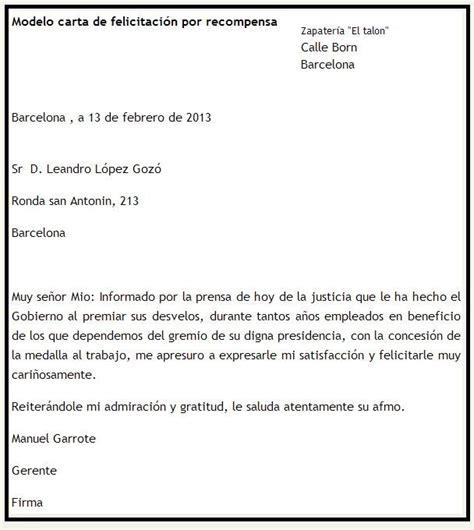 carta felicitacion modelo de carta de felicitaci 243 n