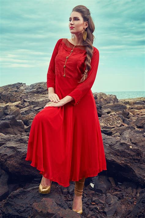 how to cut boat neck dress red classy umbrella cut georgette kurti with boat neck