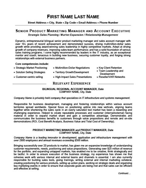 Product Executive Sle Resume by Senior Product Manager Resume Template Premium Resume Sles Exle