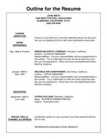 resume outline free student resume template