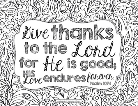 printable coloring pages with bible verses give thanks to the lord psalm 107 1 bible verse coloring
