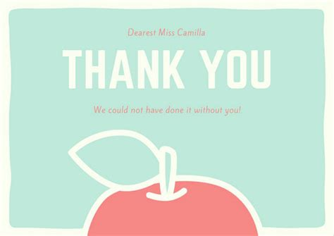 Thank You Card For Teachers Template by Mint And Thank You Card Templates By Canva
