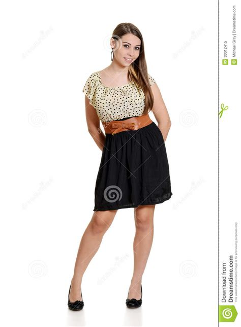 young girl short dress stock photos images pictures teen girl wearing black and polka dot dress stock image