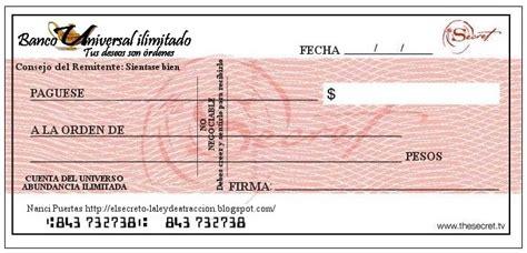 imagenes de cheques en blanco para imprimir cheque de la abundancia atrae riqueza y prosperidad