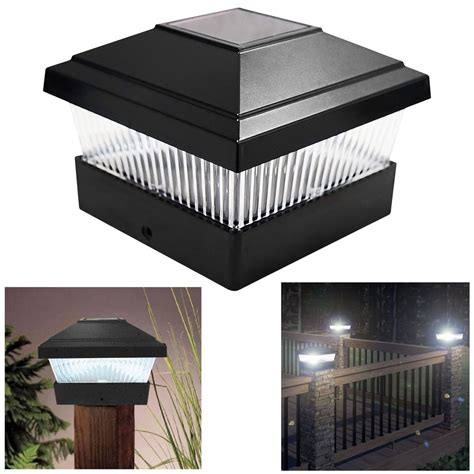 Post Solar Lights Outdoor Solar Led Powered Light Garden Deck Cap Outdoor Decking Fence Post Square L Ebay