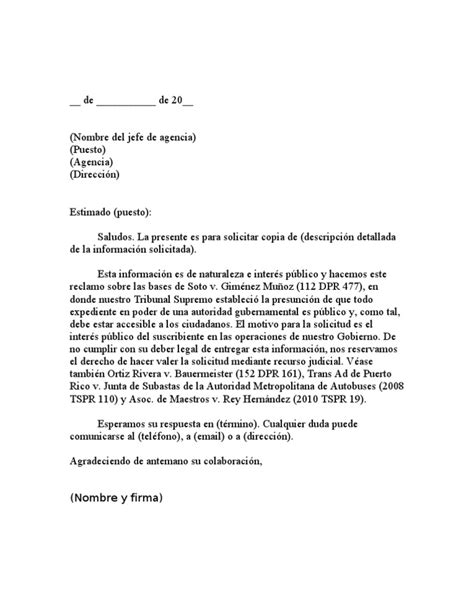 carta modelo de solicitud de informaci 243 n