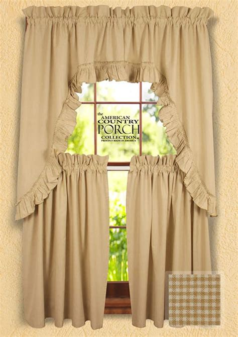 cottage country curtains cottage wheat minicheck ruffled window curtain swags