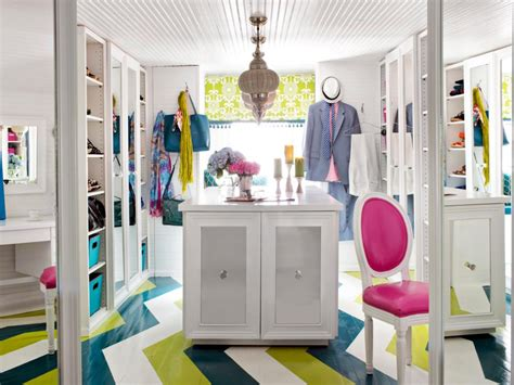 colorful closet in the attic hgtv