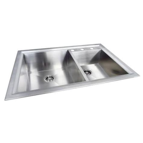 Glacier Bay Dual Mount Stainless Steel 33 In 3 Hole Glacier Bay Kitchen Sink