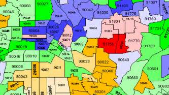 los angeles map with zip codes
